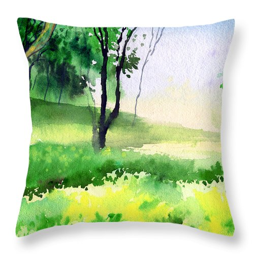 Watercolor Throw Pillow featuring the painting Let's Go For A Walk by Anil Nene