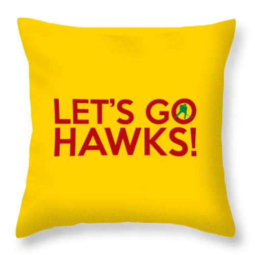 Hawks Throw Pillow featuring the painting Let's Go Hawks by Florian Rodarte