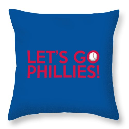 Philadelphia Phillies Throw Pillow featuring the painting Let's Go Phillies by Florian Rodarte