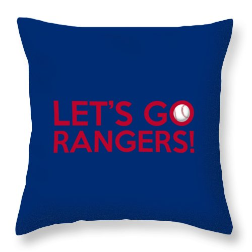 Texas Rangers Throw Pillow featuring the painting Let's Go Rangers by Florian Rodarte