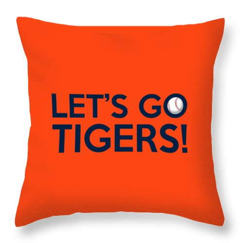 Detroit Tigers Throw Pillow featuring the painting Let's Go Tigers by Florian Rodarte
