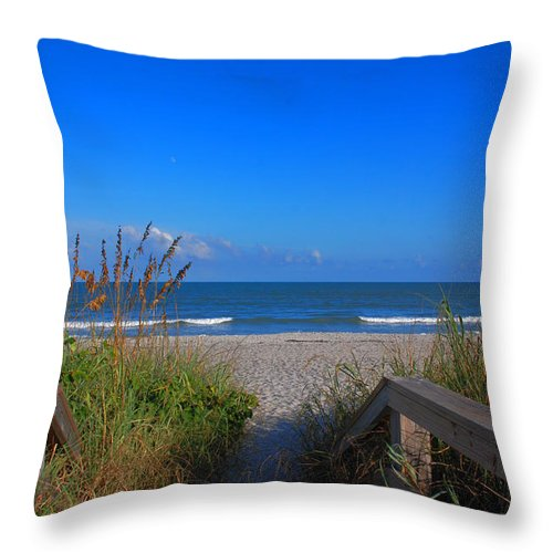 Cocoa Beach Throw Pillow featuring the photograph Lets Go To The Beach by Susanne Van Hulst