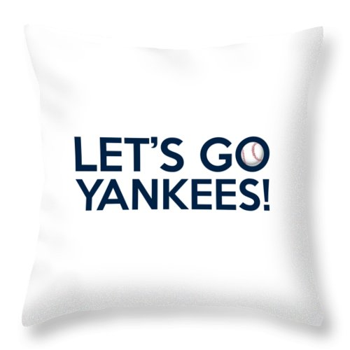 New York Yankees Throw Pillow featuring the painting Let's Go Yankees by Florian Rodarte