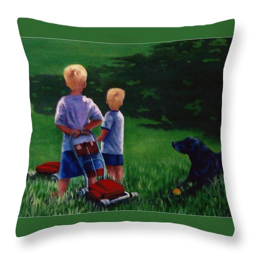 Children Throw Pillow featuring the painting Let's Play by Fran Rittenhouse-McLean