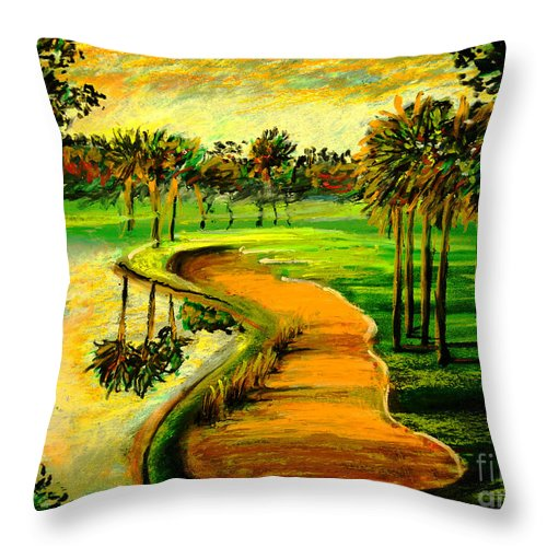 Golf Course Throw Pillow featuring the painting Let's Play Golf by Patricia L Davidson