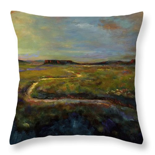 Paths Throw Pillow featuring the painting Let's Take This Path by Frances Marino