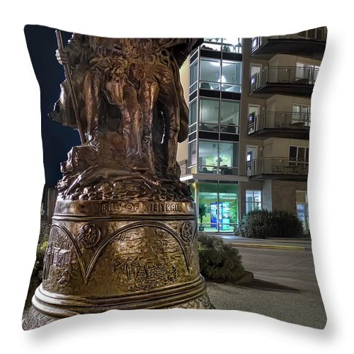 lewis & Clark Throw Pillow featuring the photograph Lewis And Clark At The End Of The Trail -- Oregon State Coast by Daniel Hagerman