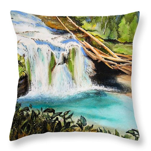 Water Throw Pillow featuring the painting Lewis River Falls by Karen Stark