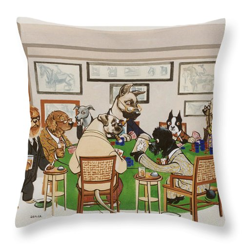 Poker Throw Pillow featuring the painting Lexington Club by Constance Depler Coleman