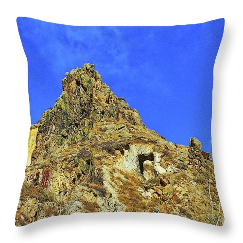 Mountain Throw Pillow featuring the photograph Leydon Hill With Cave by Timothy Ruf