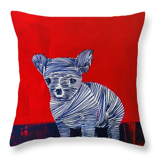Small Dog Throw Pillow featuring the painting Lib-708 by Artist Singh