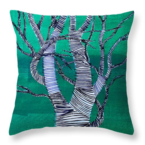 Tree Throw Pillow featuring the painting Lib-710 by Artist Singh