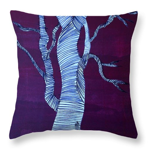 Tree Throw Pillow featuring the painting Lib-711 by Artist Singh