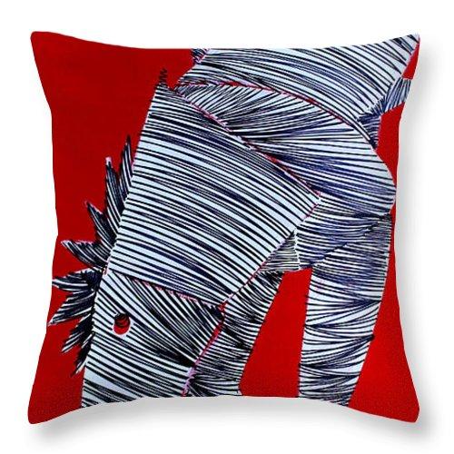 Lib Throw Pillow featuring the painting Lib- 718 by Artist Singh