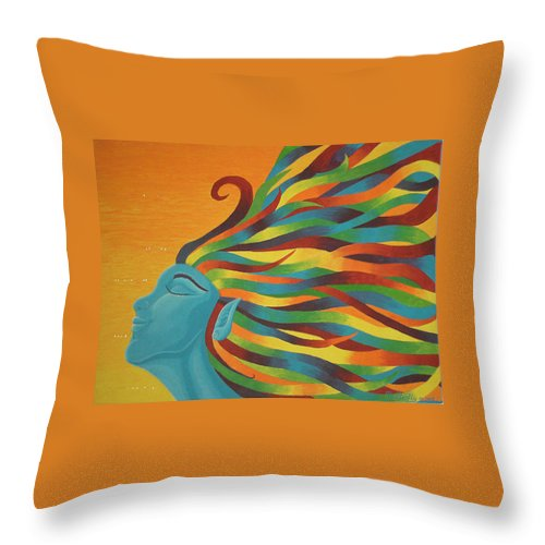 Color Throw Pillow featuring the painting Libertad by Emmely Hillewaert