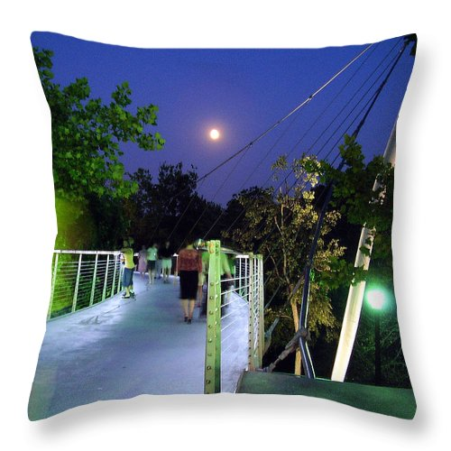 Liberty Bridge Throw Pillow featuring the photograph Liberty Bridge At Night Greenville South Carolina by Flavia Westerwelle