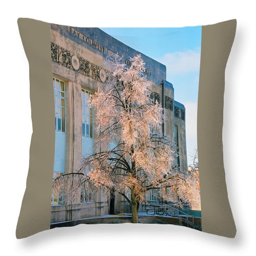 Architecture Throw Pillow featuring the photograph Liberty Court House by Steve Karol