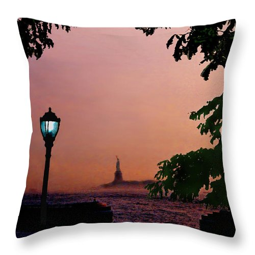 Seascape Throw Pillow featuring the digital art Liberty Fading Seascape by Steve Karol