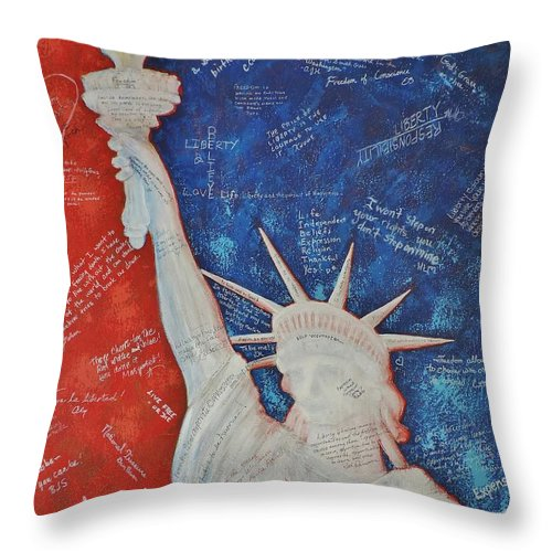 Statue Of Liberty Throw Pillow featuring the painting Liberty Is... by Margaret Bobb