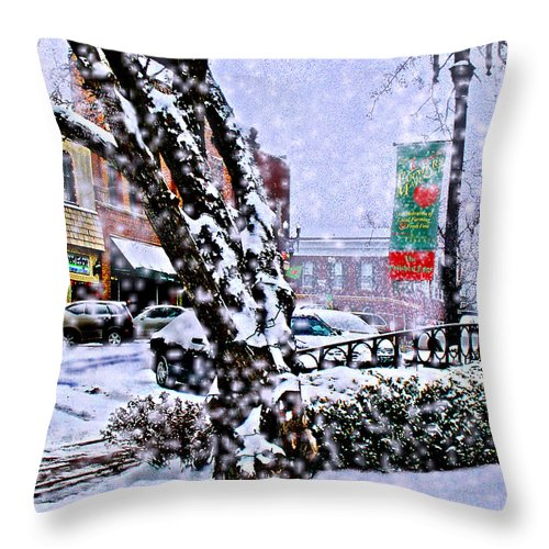 Landscape Throw Pillow featuring the photograph Liberty Square In Winter by Steve Karol