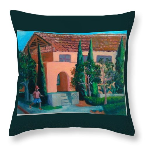 Landscape Throw Pillow featuring the painting Liberty Station by Andrew Johnson