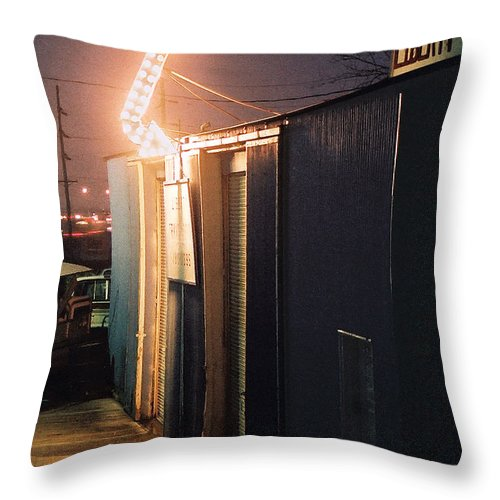 Night Scene Throw Pillow featuring the photograph Liberty by Steve Karol