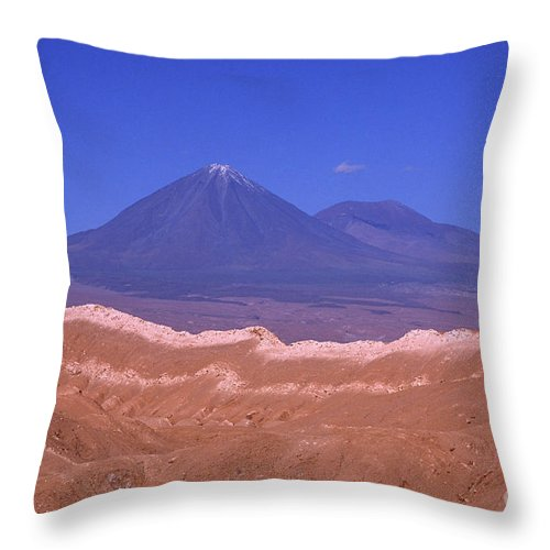 Chile Throw Pillow featuring the photograph Licancabur Volcano Seen From The Atacama Desert Chile by James Brunker