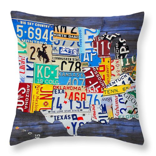 License Plate Map Of The Usa On Blue Wood Boards Throw Pillow For