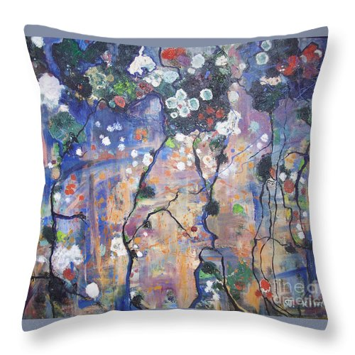 Lichen Paintings Throw Pillow featuring the painting Lichen by Seon-Jeong Kim