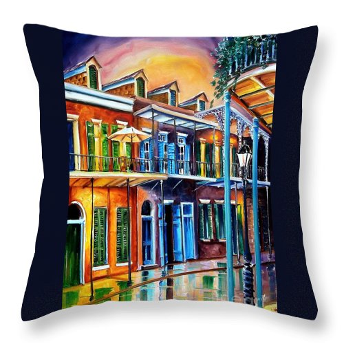 New Orleans Throw Pillow featuring the painting Life After Dark by Diane Millsap