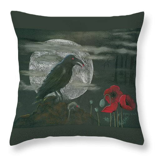 Raven Throw Pillow featuring the pastel Life And Death by Mary Tuomi