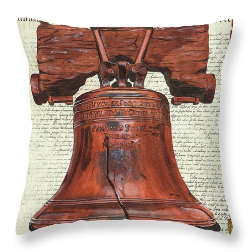 Bell Throw Pillow featuring the painting Life And Liberty by Debbie DeWitt