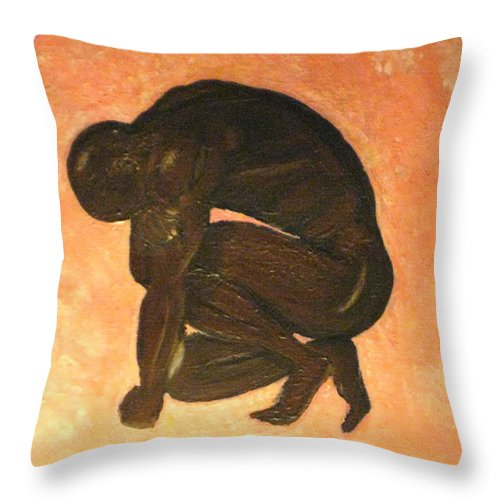Humans Throw Pillow featuring the painting Life by Debbie Levene
