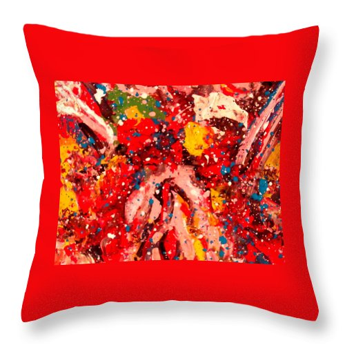 Abstract Throw Pillow featuring the painting Life Force by Natalie Holland