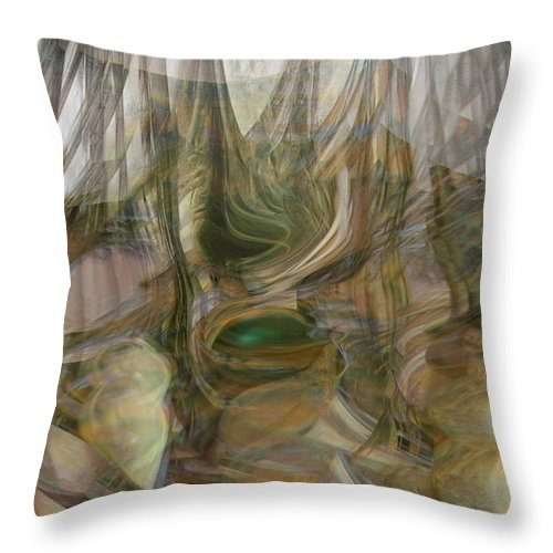 Abstract Art Throw Pillow featuring the digital art Life Forms by Linda Sannuti