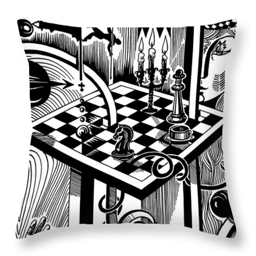 Inga Vereshchagina Throw Pillow featuring the drawing Life Game by Inga Vereshchagina