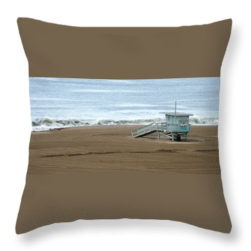Beach Throw Pillow featuring the photograph Life Guard Stand - Color by Shari Chavira