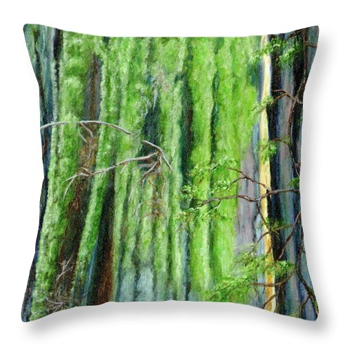 Redwood Throw Pillow featuring the painting Life In A Redwood Forest by Vicki VanDeBerghe