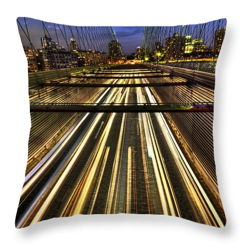 Bridge Throw Pillow featuring the photograph Life In The Fast Lane by Evelina Kremsdorf