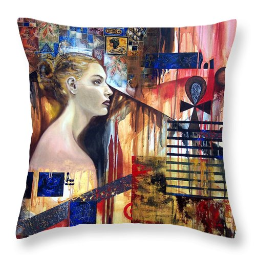 Profile Of A Woman Throw Pillow featuring the painting Life In The Past by Leyla Munteanu