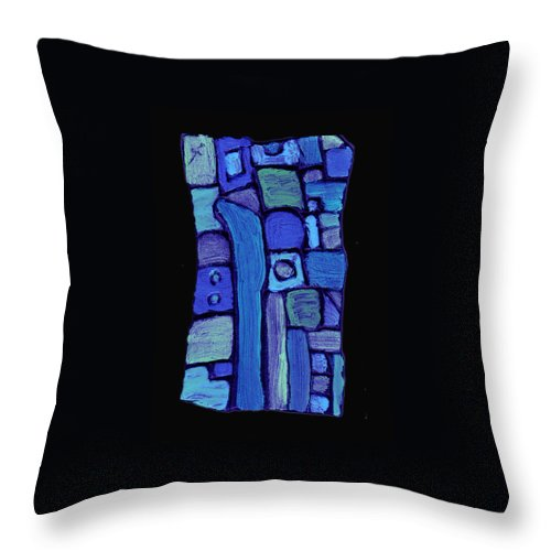 Abstract Throw Pillow featuring the painting Life In The Pond by Wayne Potrafka