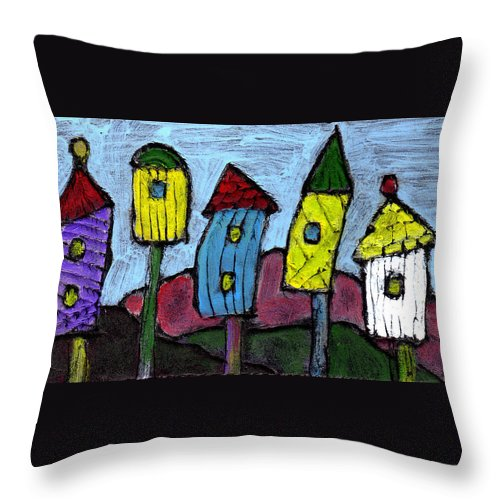 Bird Throw Pillow featuring the painting Life In The Subirds by Wayne Potrafka