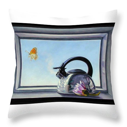Steam Coming Out Of A Kettle Throw Pillow featuring the painting Life Is A Vapor by John Lautermilch
