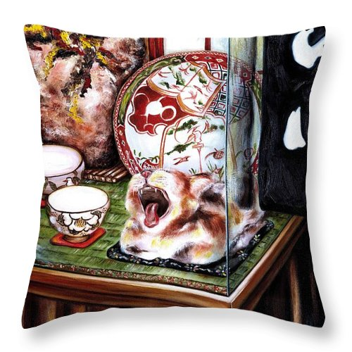 Cat Throw Pillow featuring the painting Life is Beautiful by Hiroko Sakai