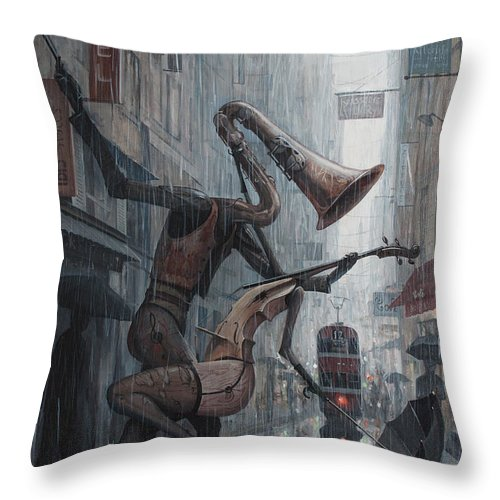 Life Throw Pillow featuring the painting Life is dance in the rain by Adrian Borda