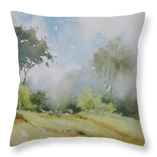 Landscapes Throw Pillow featuring the painting Life On The Edge by Sandeep Khedkar
