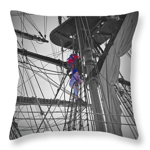 Herminoe Throw Pillow featuring the photograph Life On The Ropes by Jost Houk