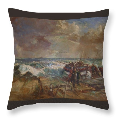 Seascape Of The Disaster That Overtook The Caister Lifeboat Launch In 1901 Throw Pillow featuring the painting Lifeboat Launch by G Chalker   C1960