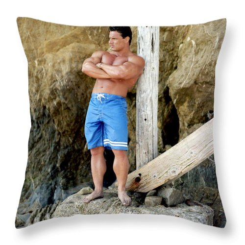 Physique Throw Pillow featuring the photograph Lifeguard At El Matador by Thomas Mitchell