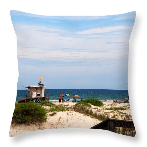 Lifeguard On Duty Throw Pillow featuring the photograph Lifeguard On Duty by Susanne Van Hulst